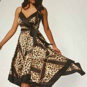 NY & Co Leopard & Chain Print Wrap Dress NWT SZ-S